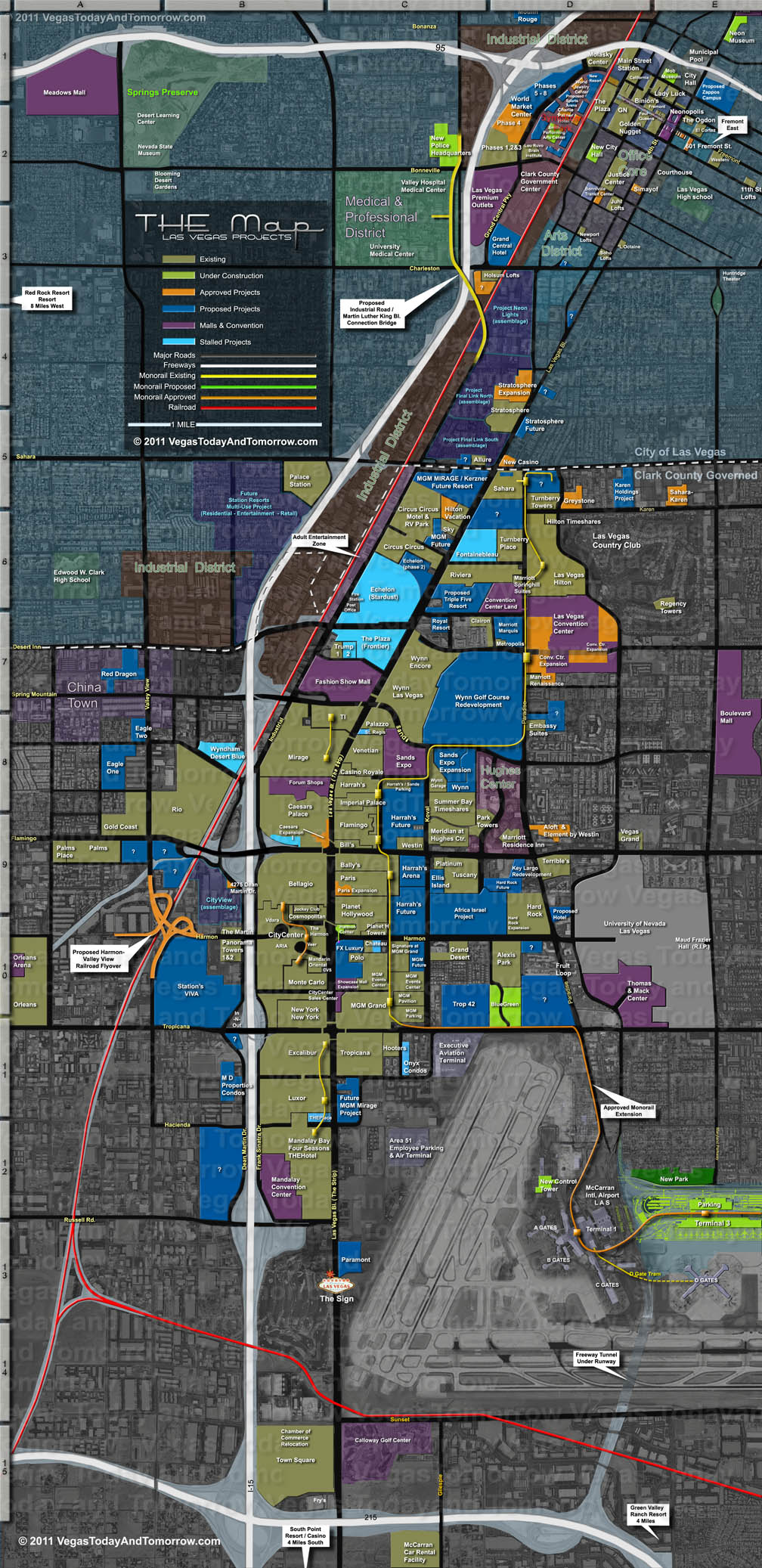 THE Las Vegas Map Downtown Vegas Map on